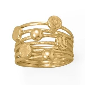 14KT GOLD PLATED 6 ROW RING